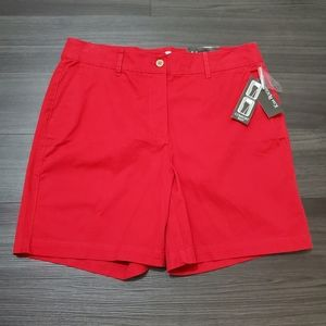 Kim Rogers Red Flat Front Shorts with Stretch
